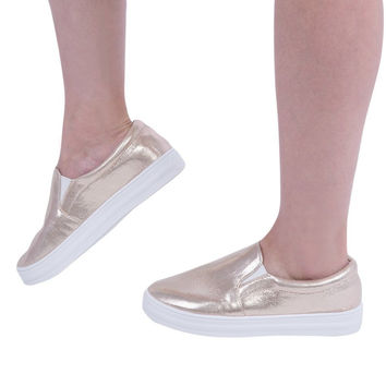 Autumn Spring Fashion Women Patent Leather Casual Flat Shoes Shining Lazy Slip On Thick Crust Muffin Pedal Flat Loafers Shoes