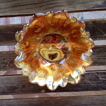 Vintage Fenton Carnival Golden Iridescent Glass Bonbon Dish - Candy Bowl
