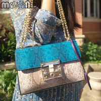 MIWIND 2017 New Women Messenger Bags Fashion Snakeskin Panelled Leather Flap Bag Chains Lock Crossbody European & American Style