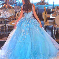 New Fashion Lake Blue Prom Dress Sexy Sheer Neck Appliqued Tulle Ball Gown Woman Party Night Dresses Beautiful 2016