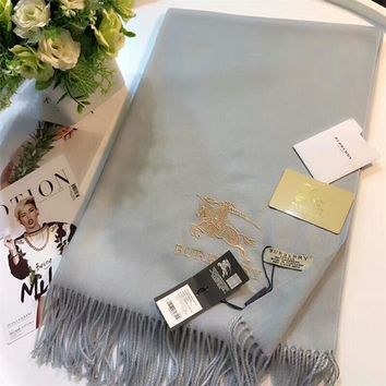 Best Online Sale Luxury Burberry Keep Warm Scarf Embroidery Scarves Winter Wool Shawl Feel Silky And Delicate - Grey