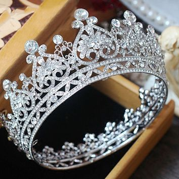 Royal Crown Silver Color Rhinestone Tiara Heart Shape Queen Wedding Hair Accessories