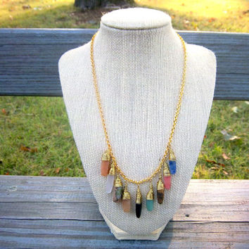 Multi Gemstone Gold Chain Statement Necklace High Fashion Avant Garde Jewelry