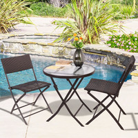 Antique Style  Patio Furniture Folding 3PC Table Chair Set Bistro Style