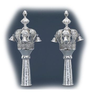 Sterling Silver Floral Rimmonim Torah Crowns