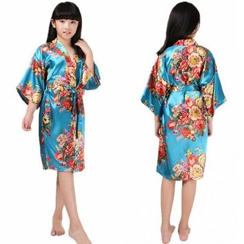 Children Bathrobe Flower Printing Long Silk Print Kimono Gown Half Sleeve Sleepwear Cardigan Robe