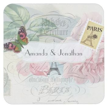 Vintage Paris Themed Wedding Party Pink Rose Square Paper Coaster