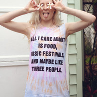 All I Care About Muscle Tee- Tie Dye Burnout - Jac Vanek
