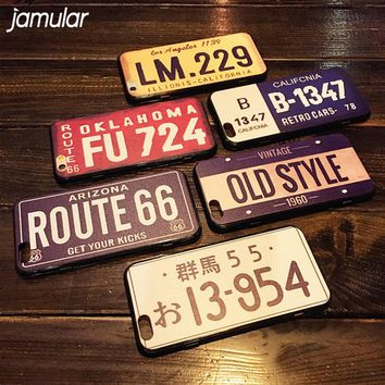 JAMULAR Retro License Plate Number Case For iPhone X 8 7 6 6s Plus Cases Back Cover For iphone 7 6 6s Plus Hard Phone Case Shell