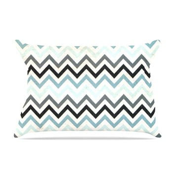 "Heidi Jennings ""Blue Chevron"" Gray Aqua Pillow Case"