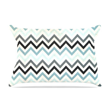 "Heidi Jennings ""Blue Chevron"" Gray Aqua Pillow Sham"