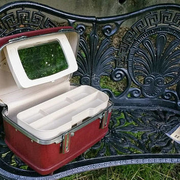 Vintage American Tourister Burgundy Train Case with Adjustable Mirror