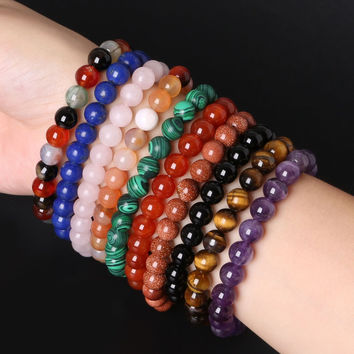 2015 Natural Stone Bracelet Tiger Eye Beads Bracelets For Women and Men Jewelry