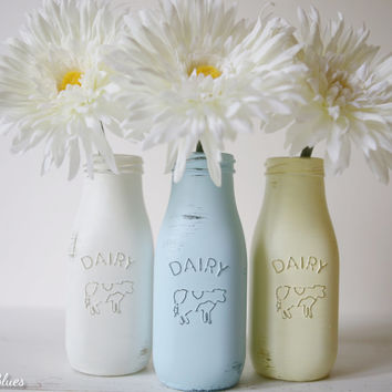 Painted And Distressed Milk Bottles Vases Summer Home Deco