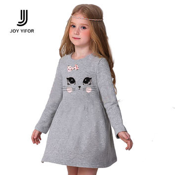 New baby girl clothes spring autumn casual dresses kids girl dress children clothing high quality cotton princess dress cat