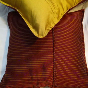 16x16 Decorative Throw Pillow cover in Maroon with Thin Yellow Stripes Accent Pillows Couch Pillows Cushion Cover Home Décor