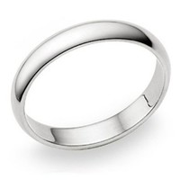 4MM Sterling Silver High Polish Plain Dome Tarnish Resistant Comfort Fit Wedding Band Ring Sz 10
