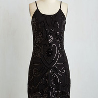 Vintage Inspired Mid-length Spaghetti Straps Sheath Le Chic Noir Dress by ModCloth