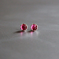 Studs, Ruby stud earrings, sterling silver 925 small earrings
