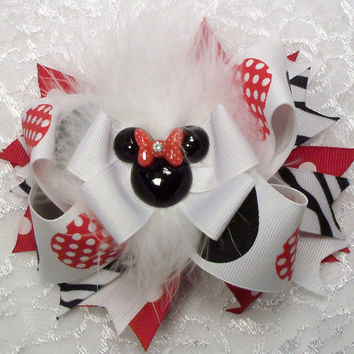 Over the top Minny Mouse inspired hair bow infants toddlers girls in red white and black and zebra stripes spikes on covered hair