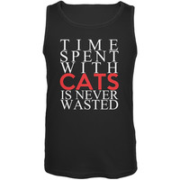 Time Spent With Cats Never Wasted Black Adult Tank Top