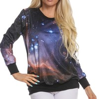 MULTI ALL-OVER GALAXY PAINT PRINT LONG-SLEEVE SWEATER