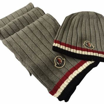 Moncler Fashion Beanies Knit Winter Hat Cap Scarf Scarves Set Two-Piece-2