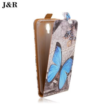 Flip Cover For Fly FS504 Leather Case For Fly FS504 Cirrus 2 Vertical Cover Cute Painting Mobile Phone Bag&Case With Safe Buckle