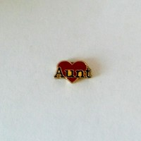 Aunt on Heart Floating Charm