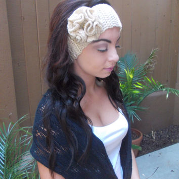 Crochet  Flower Headband - Golden Headband - Hair Accessories - Vegan Friendly - Ready to Ship