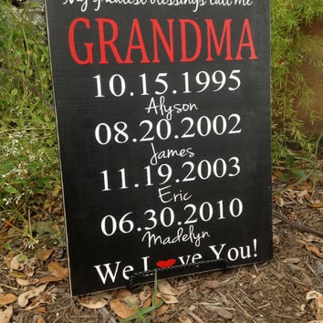 Personalized Grandparents Gift - Moms Greatest Blessings - 11x15 Custom Wood Sign, Mom's Day Gift,
