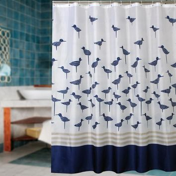 Fabric polyester blue lucky birds thicken waterproof shower curtains bathroom curtains waterproof coating curtains.