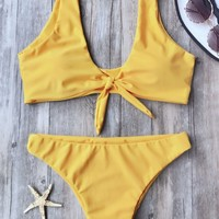 Knotted Scoop Bikini Top and Bottoms