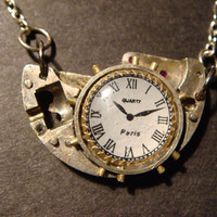 Steampunk Watch Part Necklace with Clock Charm