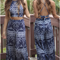 Nassau Nights Navy Two Piece Crop & Pant Set