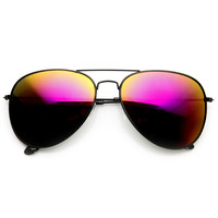 Black Metal Aviator Sunglasses With Flash Revo Lenses 1494 60mm