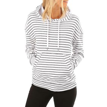 Women Casual Striped Sweatshirts Hoodies Long Sleeve Drop Shoulder Striped Drawstring Hoodie Women sweatshirt femme 2017 #920