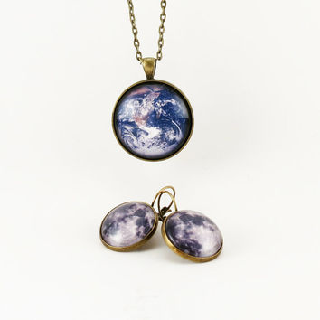 Planet Earth Necklace And Full Moon Earring by cellsdividing