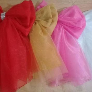 (10) Deluxe Tulle and Organza Door Bows, Ribbon, Decoration, Baby Shower, Nursery, Wedding, Christmas, Valentines, Birthday