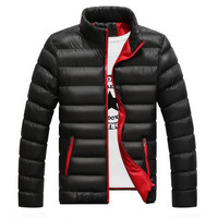 Mens Casual Poofy Zip-Up Jacket