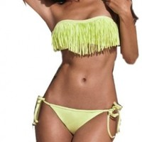 2014 Top Popular Sexy Women Bikini Swimwear Swimsuit Padded 2 pieces With Bangs And Strings Adjustment Yellow - Size L US10 CupsizeC,Bust:36-38