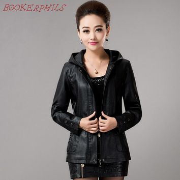 New Spring Womens Hooded Leather Jackets Ladies Slim Sheepskin Leather Coat Plus Size Female Clothing Outerwear Fashion