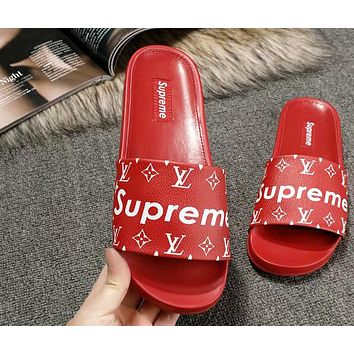Supreme & LV joint men and women non-slip slippers Red