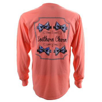 Southern Charm Preppy Bow Tie on a Coral Heather Long Sleeve T Shirt