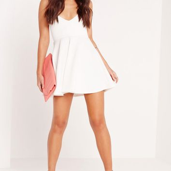 Missguided - Strappy Plunge Skater Dress White