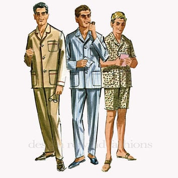 1960s Men's Proportioned Pajamas Long or Short Sleeves, Long Pants or Shorts Pockets McCalls 6597 Vintage Sewing Pattern Medium Chest 38-40