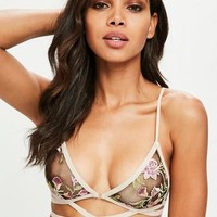 Missguided - Nude Embroidered Bra