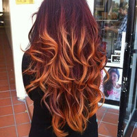 Ombre Hair Extensions//DipDye//Off Black Faded to Red Blonde Copper Clip In Set//(7)Pieces//22""