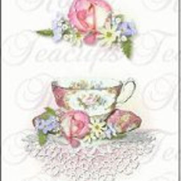 Set of 10 Quantity Bookmarks - Teacups (Tea Cups) Perfect for Party Favors