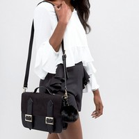 ASOS Satchel Bag With Detachable Strap And Pom at asos.com